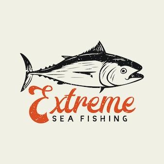 Diseño de logotipo pesca en el mar extrema con atún ilustración vintage