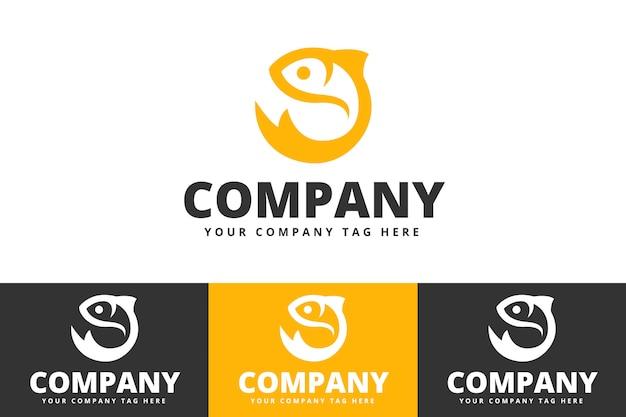 Diseño de logotipo de pescado aislado sobre fondo blanco