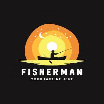 Diseño de logotipo de pescador con estilo plano
