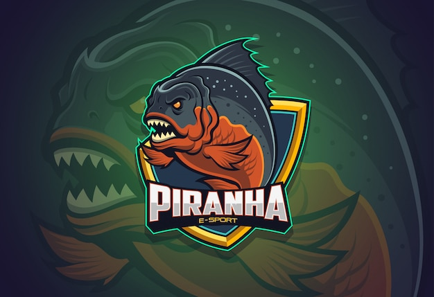Diseño de logotipo de piranha esport