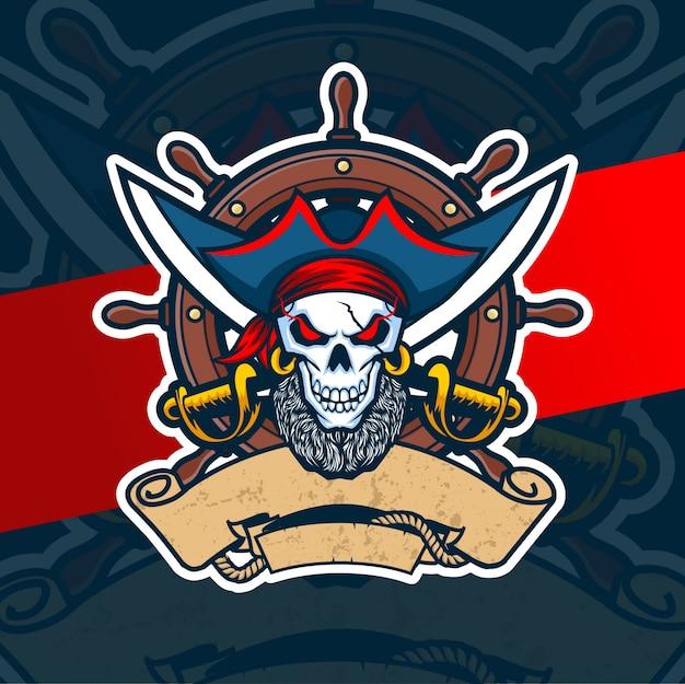 Diseño de logotipo de pirata cráneo mascota esport