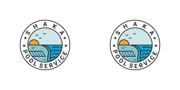 Diseño de logotipo de piscina vintage