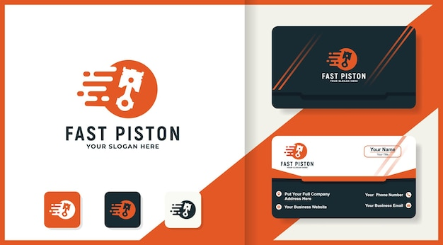 Diseño de logotipo de pistón rápido y tarjeta de visita.