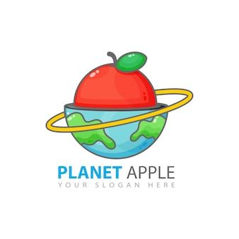 Diseño de logotipo de planet apple