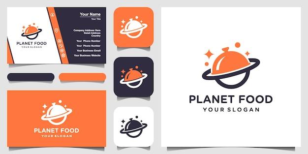Diseño de logotipo de planeta de alimentos abstractos y tarjeta de visita.