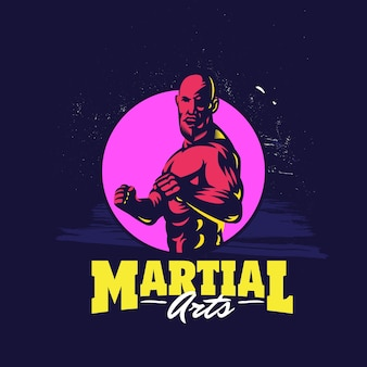 Diseño de logotipo de plantilla de artes marciales mixtas profesional moderno