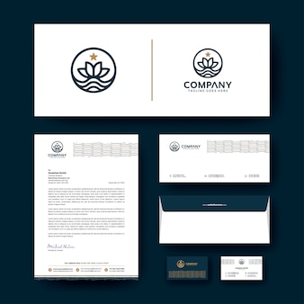 Diseño de logotipo con plantilla de papelería corporativa.