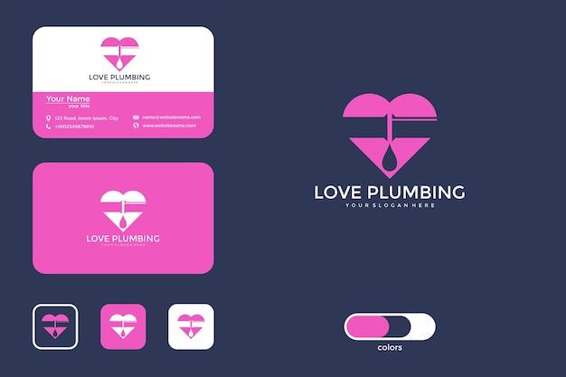 Diseño de logotipo de plomería de amor moderno y tarjeta de visita