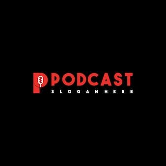 Diseño de logotipo de podcast creativo letra p