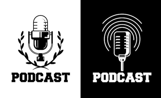 Diseño de logotipo de podcast de micrófono retro