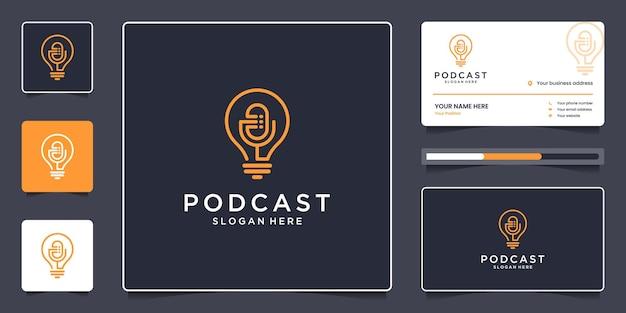 Diseño de logotipo de podcast minimalista y tarjeta de visita, concepto creativo de micrófono y lámpara combinados