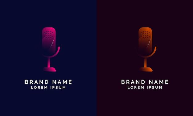 Diseño de logotipo de podcast moderno degradado.