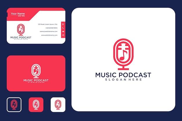 Diseño de logotipo de podcast de música y tarjeta de visita