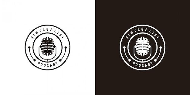 Diseño de logotipo de podcast en vintage
