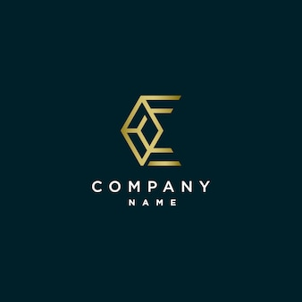 Diseño de logotipo poligonal monograma letra c
