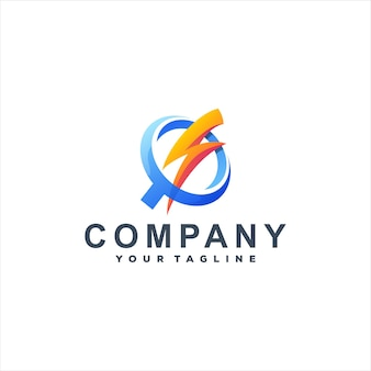 Diseño de logotipo power flash gradient