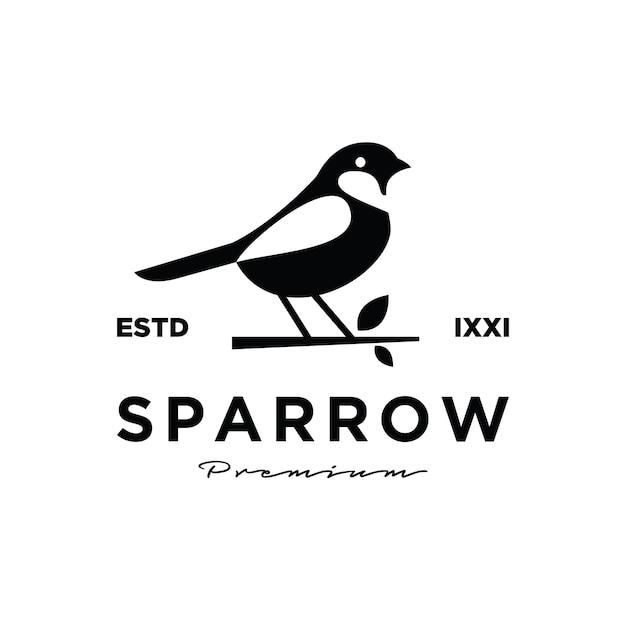 Diseño de logotipo premium gorrión pájaro