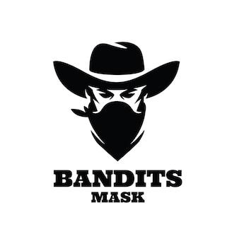 Diseño de logotipo premium de máscara de bandido