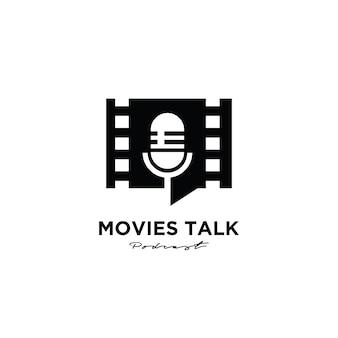 Diseño de logotipo premium de podcast de películas