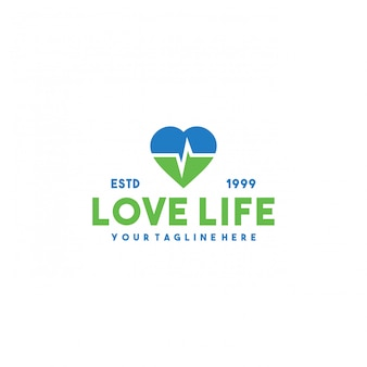 Diseño de logotipo premium de vida amorosa creativa.