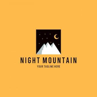 Diseño de logotipo profesional de montaña nocturna