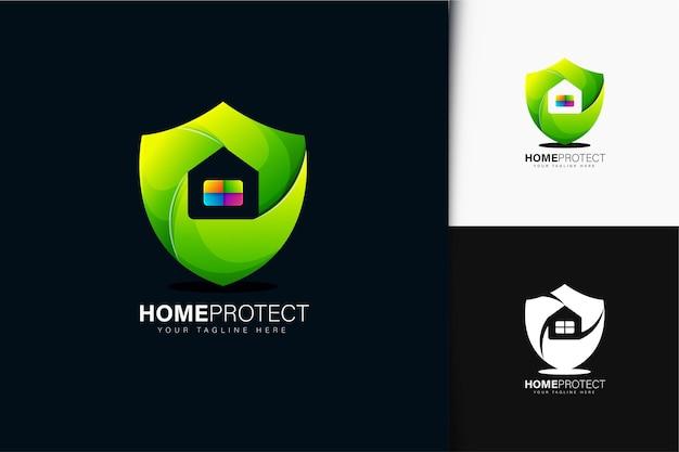 Diseño de logotipo de protección de hogar con degradado
