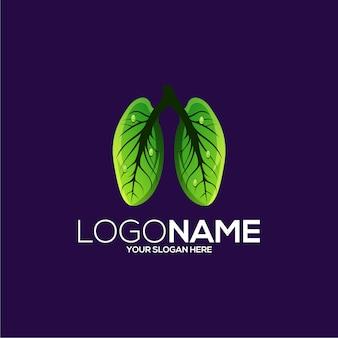 Diseño de logotipo de pulmón de hoja