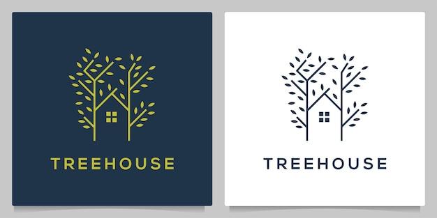 Diseño de logotipo de rama verde casa de árbol con estilo de contorno de línea