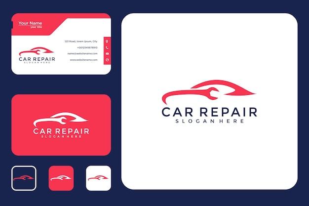 Diseño de logotipo de reparación de automóviles y tarjeta de visita.