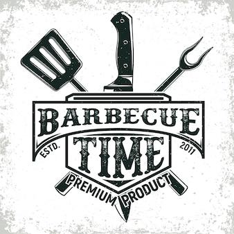 Diseño de logotipo de restaurante de barbacoa vintage