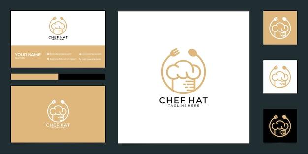 Diseño de logotipo de restaurante de gorro de chef y tarjeta de visita