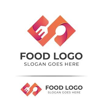 Diseño de logotipo de restaurante de menú de comida de color moderno