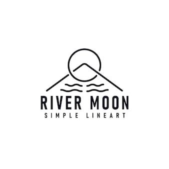 Diseño de logotipo de river moon con ilustración de vector de arte de línea simple de símbolo de río, luna y montaña