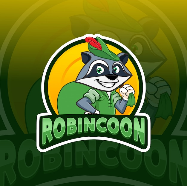 Diseño de logotipo de robin hood mapache mascota esport