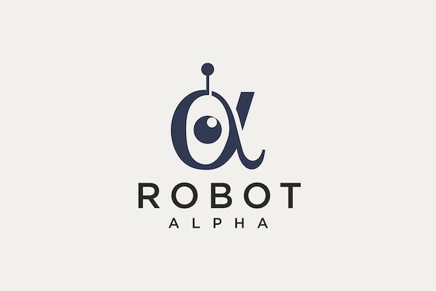 Diseño de logotipo de robot alfa simple