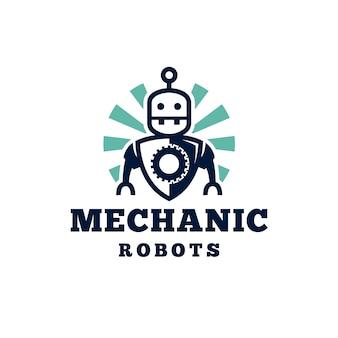 Diseño de logotipo de robot mecánico retro
