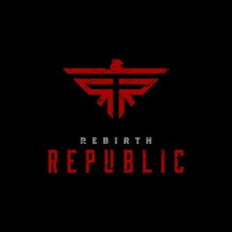 Diseño de logotipo rústico inicial rr y símbolo de águila