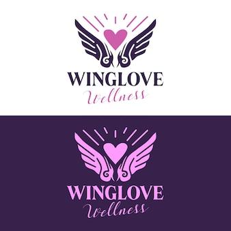 Diseño de logotipo de salón de belleza de alas de corazón