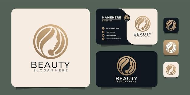 Diseño de logotipo de salón de moda de cabello de cara de mujer de belleza para cosméticos de spa boutique