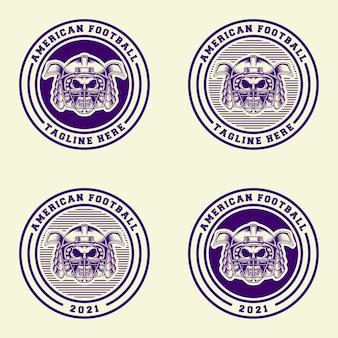 Diseño de logotipo samurai fútbol americano con estilo retro de arte lineal