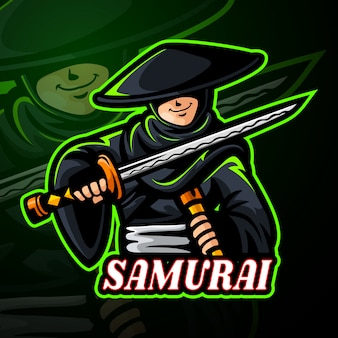 Diseño de logotipo de samurai mascota esport