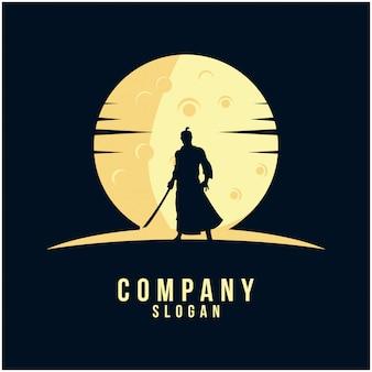 Diseño de logotipo samurai silueta
