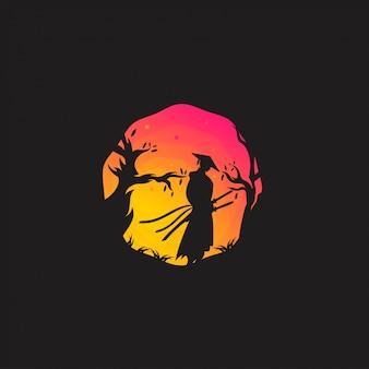Diseño de logotipo de samurai
