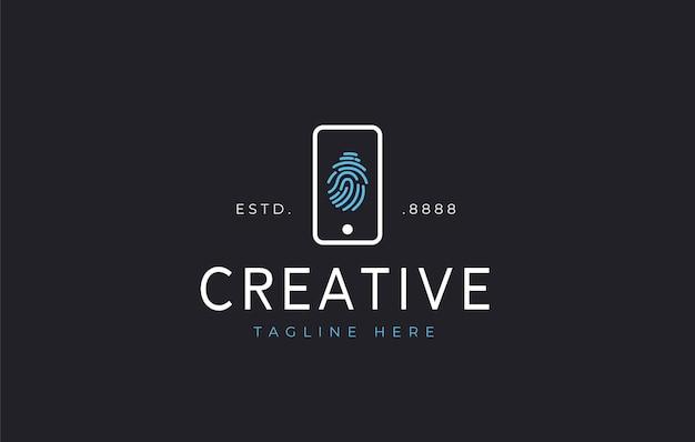 Diseño de logotipo de seguridad de huellas dactilares de teléfono vector de diseño de icono de seguridad de huellas dactilares de teléfono