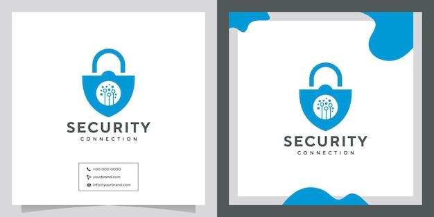 Diseño de logotipo de seguridad tecnológica.