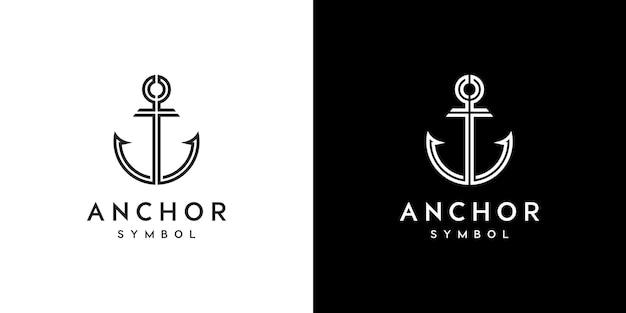 Diseño de logotipo de sello marino náutico de ancla
