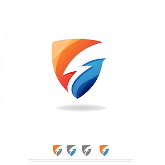 Diseño de logotipo shield flash