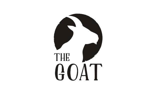 Diseño de logotipo de silueta de cabeza de cabra