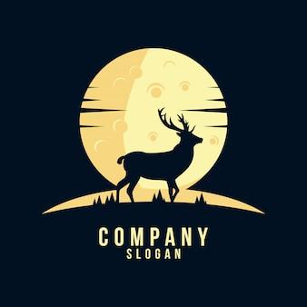 Diseño de logotipo de la silueta de ciervos