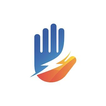 Diseño de logotipo de símbolo de mano y trueno
